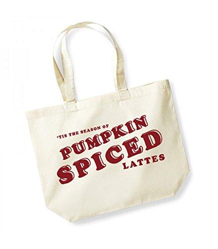 Tis the Season of Pumpkin Spiced Lattes - Large Canvas Fun Slogan Tote Bag Natural/Red