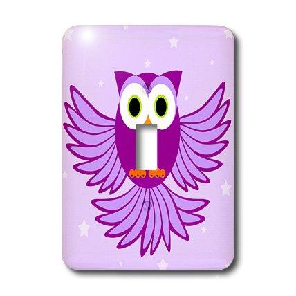 3dRose lsp_20374_1 Cute Purple Flying Owl Under Stars Sin...