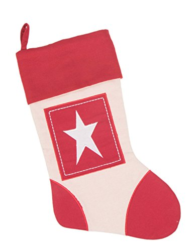 Clever Creations Boxed Star Canvas Christmas Stocking Beautiful Star Applique Design | Soft Woven Material | Festive Holiday Dcor | Traditional Theme | Easy to Personalize | Measures 16 Tall
