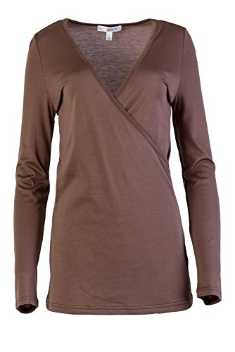 Para Casual Brown Silk and arin Mujer Manga M Larga 32 Camisas xapq7C