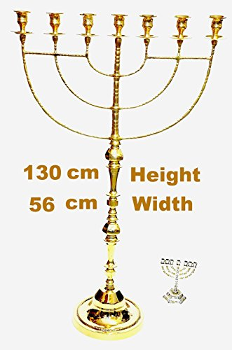 Huge Menorah In Gold Plated From Holy Land Jerusalem 130cm x 56cm by jerusalem menorah