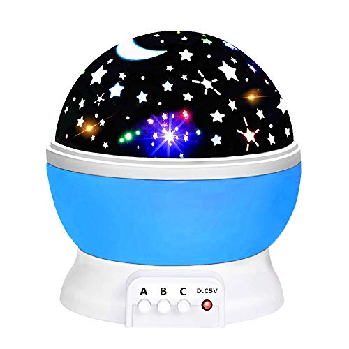 Popular Best Top Toys for 2-10 Year Old Boys Girls Baby, Ouwen Star Rotating Night Light for Kids Presents Christmas New Gifts for 2-10 Year Old Girls Boys Baby Blue Stocking Fillers OWUSNL01