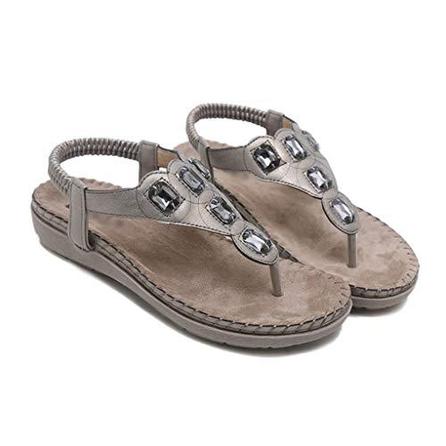 Femmes Flip Plates on Chaussures Décontracté Été Slip Femme Sandales De Gris Flops Plage Sandalias Bohême Romain q1rwEXg1