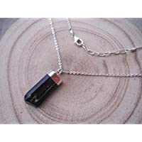 Genuine Raw Black Tourmaline Pendant Necklace 925 Sterling Silver Chain Extender 1 inch - Size 16 inches for Women Jewelry Gift, NPBT6