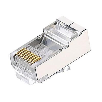 Shielded RJ45 CAT5 CAT5E Crimp Connector (100 Pack Bag) 8P8C STP Ethernet Network Cable Plug Crimp