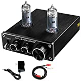FX AUDIO Vacuum Tube Preamp—Mini Electronic Hi-Fi Stereo 6K4 Tube Preamplifier with Bass & Treble Control DC12V Power Supply for Home Audio Player(Black)