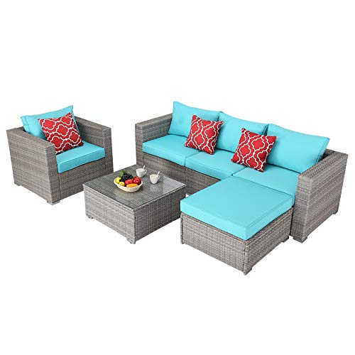 Do4U Patio Furniture Set 6-Piece Outdoor Lawn Backyard Poolside All Weather PE Wicker Rattan Steel Frame Sectional Cushioned Seat Sofa Conversation Set (Gray-Turquoise)