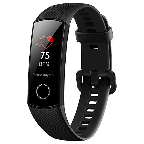 (Huawei Honor Band 4 6-Axis Inertial Heart Rate Monitor Infrared Light Wear Detection Sensor Full Touch AMOLED Color Screen Home Button All-in-One Activity Tracker 5ATM Waterproof (Black))