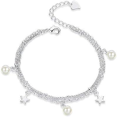 Simple 925 Plata esterlina Perla Estrella Encanto Pulseras para Las Mujeres San Valentín Regalo Cadena de Doble Capa