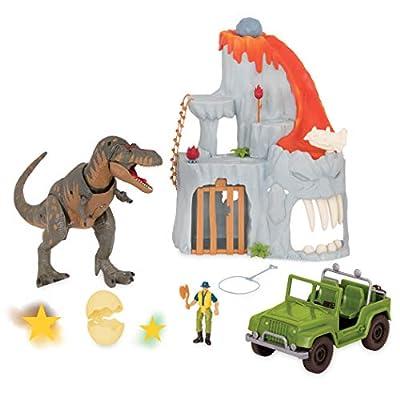 Terra by Battat - T-Rex Big Playset– Electronic Tyrannosaurus Rex Dinosaur Lava Mountain Set with 2 Surprise Dinosaur Toys for Kids Age 3+ (14 Pc): Toys & Games