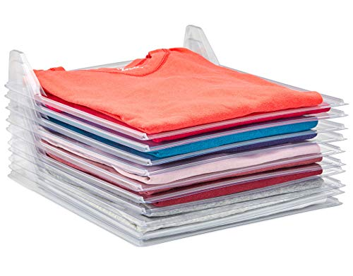 Tee Shirt Organizer Clothing Dividers - 10 Pack Stackable T Shirt and Document Organizer, Clothes Storage Organizers for Closets -Pull Out Tshirts Without Messing Other Clothes