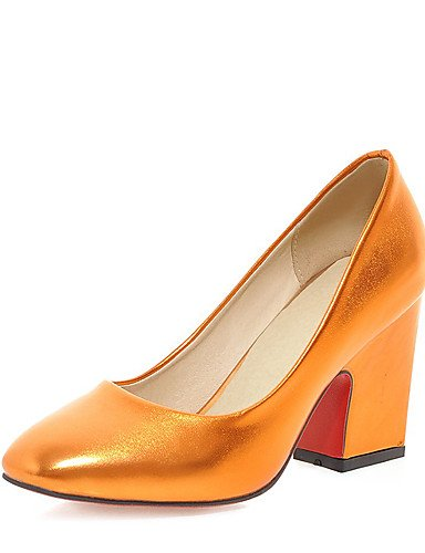 GGX/ Damen-High Heels-Party & Festivität / Kleid-Kunstleder-Blockabsatz-Absätze / Quadratische Zehe-Blau / Gelb / Grün / Silber / Gold yellow-us4-4.5 / eu34 / uk2-2.5 / cn33