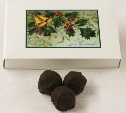 Scott's Cakes Dark Chocolate Covered Chocolate Marzipan Truffles in a 1 Pound Mistletoe - Cake Chocolate Marzipan