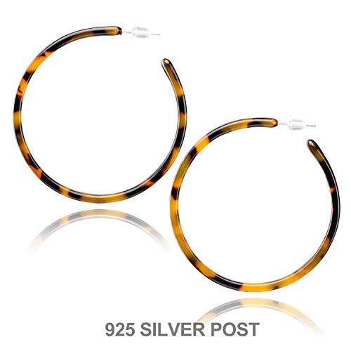 Enameljewelries Hoop Earrings Statement Acrylic Resin Round Circle Hoop Earrings with 925 Sterling Silver Post Bohemian Tortoise Shell Earrings for ()