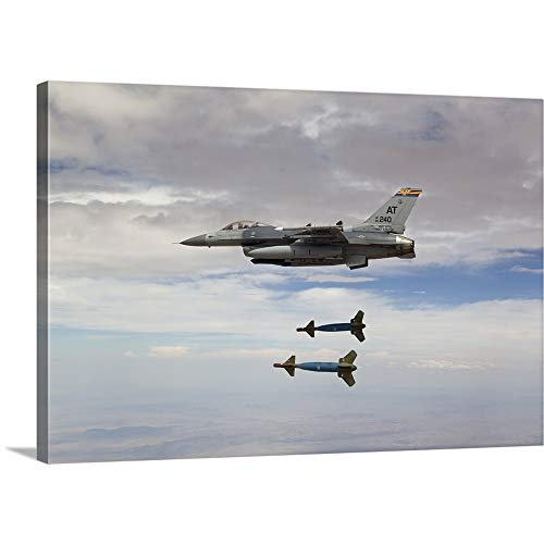 (GREATBIGCANVAS Gallery-Wrapped Canvas Entitled an F-16 Fighting Falcon Releases Two GBU-24 Laser Guided Bombs by HIGH-G Productions 18