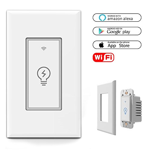 Price comparison product image Smart WiFi Light Switch In-Wall, Wireless Lighting On/Off No Hub Required, Timing Function Control your Fixtures from Anywhere, Voice Control with Alexa, wall plate included 15 A