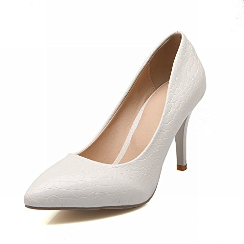 Carol Shoes Fashion Womens Stone Pattern Pointed-toe Sexy Dancing Party High Stiletto Heel Pumps Shoes White rTDWeWqZL