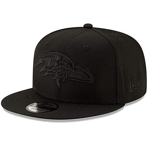 New Era Baltimore Ravens Hat NFL Black on Black 9FIFTY Snapback Adjustable Cap Adult One Size]()