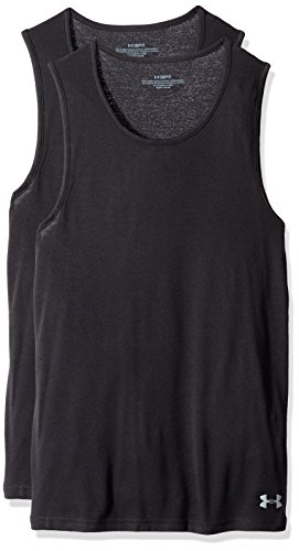 - Under Armour Men's Core Tank Undershirt - 2-Pack, Black (001)/Black, Medium