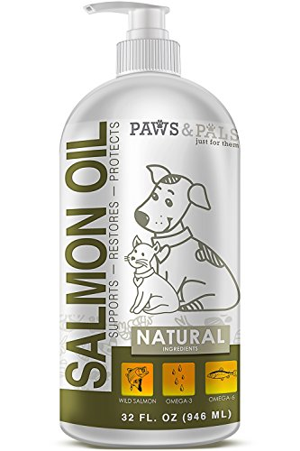 32oz Pure Wild-Alaskan Salmon Oil for Pets Omega 3 All Natural Fish Oil Liquid Food Supplement for Dogs & Cats –EPA & DHA Fatty Acids Supports Healthy Heart Restores Skin Protects Coat - Oil Dog