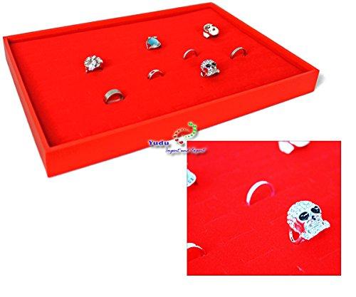 Vorlagebrett Schmucklade Schaukasten mit 100 Schlitze für breite Ringe rot