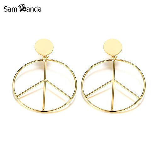 Simple Titanium Steel Peace Sign Earrings for Women Jewelry Gold Color Female Earring Pendientes Mujer Moda 2018 - Trendy Peace Sign