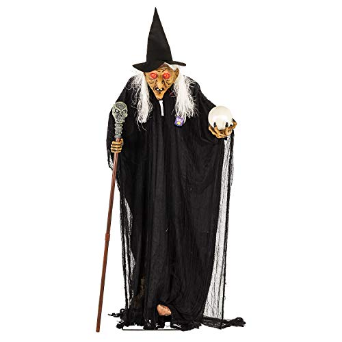 Halloween Haunters Life-Size Standing Old Witch with Crystal Ball and Skull Staff - Prop Decoration