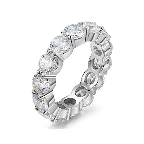 5.00mm Sterling Silver 925 Cubic Zirconia Cz Eternity Engagement Wedding Band Ring (7) (Eternity Band Sterling Silver)
