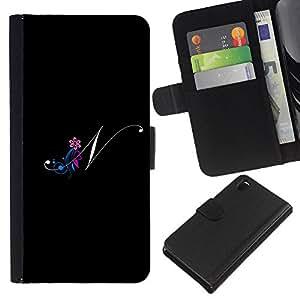All Phone Most Case / Oferta Especial Cáscara Funda de cuero Monedero Cubierta de proteccion Caso / Wallet Case for Sony Xperia Z3 D6603 // Black Initials Letter Calligraphy Text