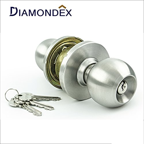 Modern Style Ball Set (Diamondex & Jarton - Commercial & Residential Door Knob Lock Set, Modern Ball Knob Style, ANSI Grade 1, No.1 ITALY Locking system, Genuine 304JAPAN Stainless steel. (Satin Stainless steel))