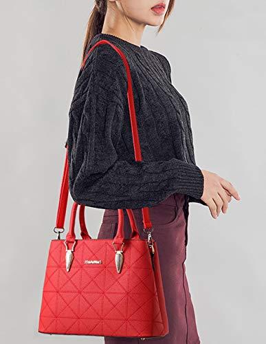 DEERWORD Sacs à Cartable Violet Rouge main bandoulière Femme Vineux Faux Sacs Sacs épaule main Sacs portés Sacs portés Cuir rvEHqr4f