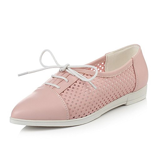 (AmoonyFashion Women's Solid Pu Low Heels Pointed Closed Toe Lace Up Pumps-Shoes, Pink,)