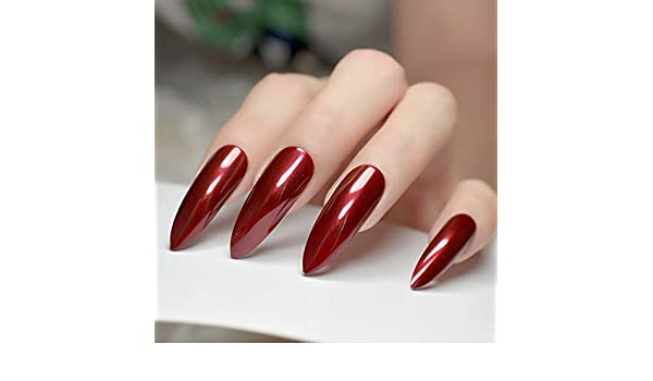 EchiQ - Puntas de uñas postizas afiladas extra largas de color rojo burdeos con puntas de Stilettos UV Gel Salon Party Press on Fake Nail Art: Amazon.es: ...