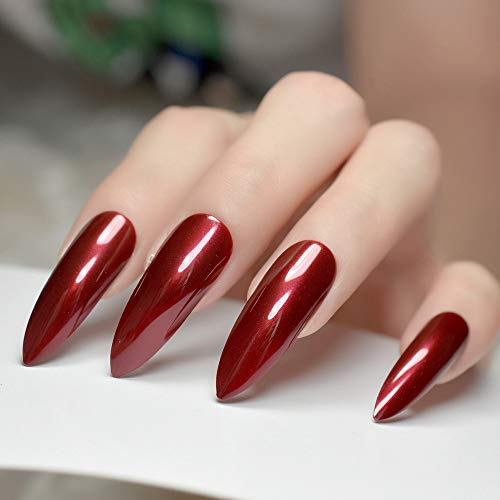 CoolNail Extra Long Sharp Stiletto False Nails Tips Claret-red Bordeaux Red Pointed Stilettos UV Gel Salon Party Press on Fake Nail -