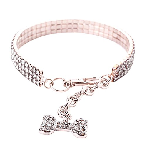 Necklace for Small Dog Girl Wakeu Rhinestone Bling Collars with Bone Pendant (L, Series 2 ~ Silver)