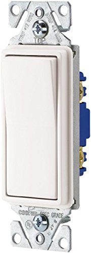 10 PACK Cooper Wiring Devices C7501W SP-L 15-Amp, 120-Volt Standard Grade Single-Pole Metal Strap Decorator Switch, White
