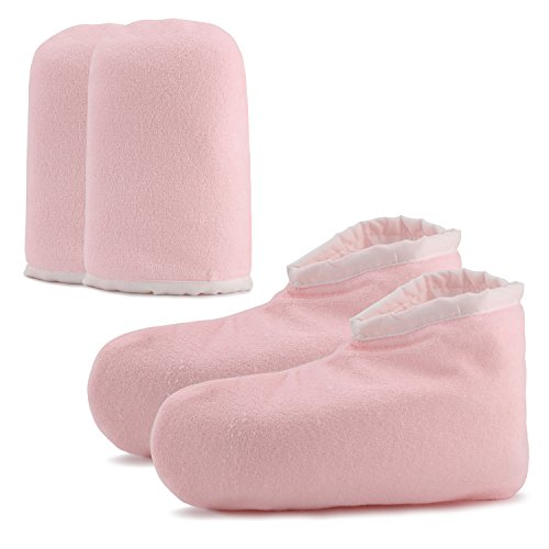 Paraffin Wax Bath Terry Cloth Gloves Booties, Wax Care Insulated Mittens, Heat Therapy Spa Treatment Tanning Mitt, Great for Paraffin Wax Machine- Pink ... ()
