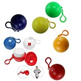 rain ball - ISusser Disposable Emergency Raincoats, Colorful Rain Poncho with Hook Portable Ball(Set of 5)