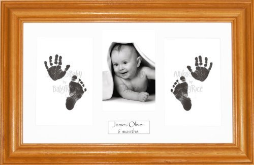 Anika-Baby BabyRice Baby Hand and Footprints Kit includes Black Inkless Prints/ Honey Pine Wooden Frame with White Mount Display by Anika-Baby by Anika-Baby
