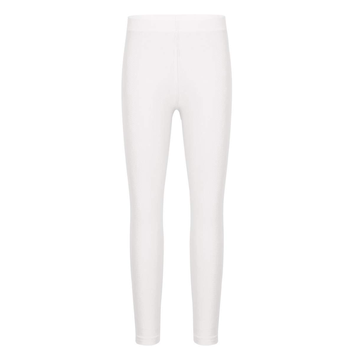 YiZYiF Kids Girls Ultra Soft Spandex Ankle Length Seamless Leggings Tights Pants White 4-5