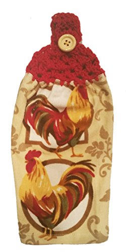 handcrafted-cherry-red-crochet-topped-colorful-rooster-theme-kitchen-towel