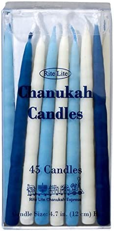 Rite-Lite Judaica Deluxe Blue /& White 4.7-Inch Chanukah Candles Box of 45