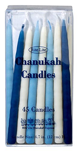 Rite-Lite Judaica Deluxe Blue & White 4.7-Inch Chanukah Candles, Box of 45 Rite Lite LTD C-10-BWN