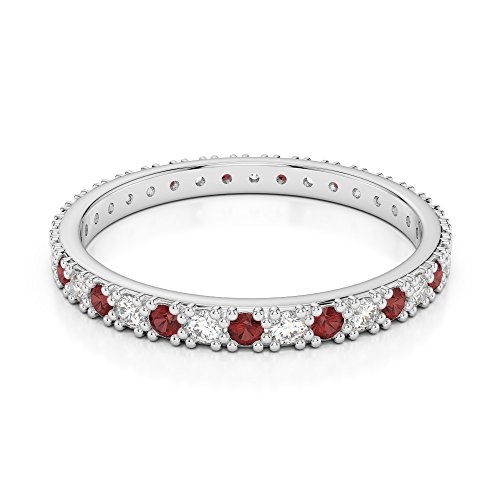 G-H/VS 0,26 CT Coupe ronde sertie de diamants Grenat et Full Eternity Bague en platine 950 Agdr-1126