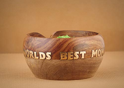 Mother's Day Special Wooden Yarn Bowl for Knitting and Crochet, Large Size 6'' X 3'' Durable and Portable Yarn Storage for Knitters- Beautiful Gift for Mom, Grandmother by Eximious India (Image #1)
