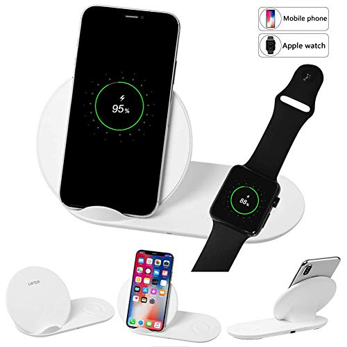 LWTER Qi Wireless Charger Pad Charging Stand Cordless Mat Plate Compatible with i Phone Xs/Xs Max/Xr/X/8/8plus Samsung Galaxy S7/S8/S9 Note 5/7/8.iWatch 3/2/1(No AC Adap)