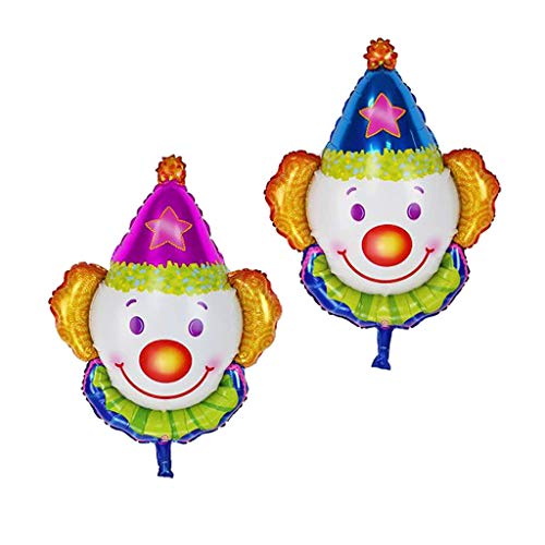 Prettyia Pieces of 2 Jumbo Smiling Clown Face Foil Balloon Rose and Blue