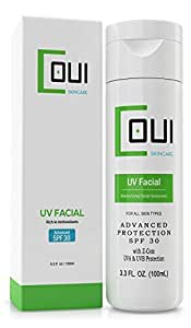 SUNSCREEN LOTION Advanced UV Protection SPF 30 For Face - Non-Greasy, Non-Shiny Formula, Makeup Friendly, Easily Absorbed, Fragrance Free - Vitamin C, E and Z-Cote - Best For All Skin Types