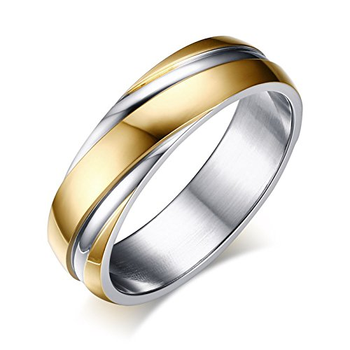 Ladies Two Tone Wedding Band (DIB Stainless Steel Wedding Bands Two-tone Grooves Engagement Rings for Men or Women Gold 6mm (11))