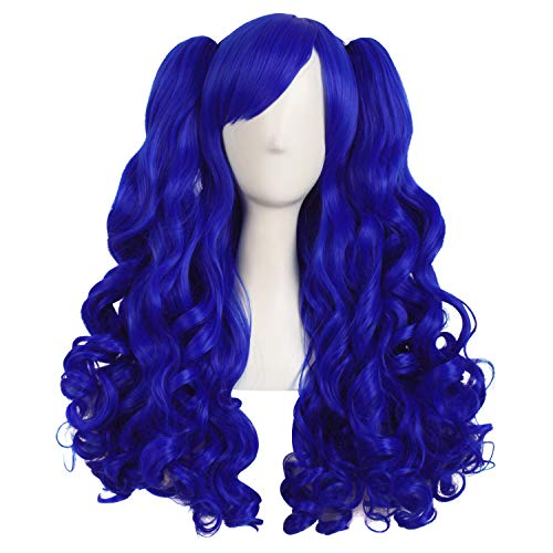 MapofBeauty 28 Inch/70cm Lolita Long Curly 2 Ponytails Clip on Cosplay Wig (Navy Blue)